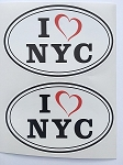 2 I Love Heart NYC Oval Vinyl Window Decal by SBD DECALS