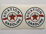 2 Texaco Aviation Gasoline Die Cut Decals