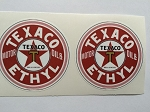 2 Texaco Ethyl Motor Oil Die Cut Decals