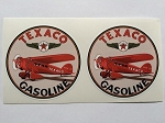 2 Texaco Aviation Gasoline Red Plane Die Cut Decals