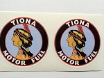 2 Tiona Motor Fuel Gasoline Die Cut Decals
